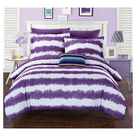Tie Dye Bedding Sets Lucas Striped Shibori Tie Dye Printed Comforter Set 7 Xl Purple Chic Home Design
