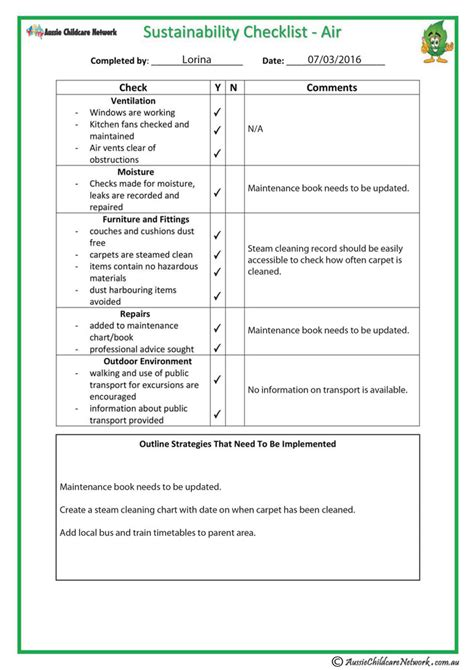 Sustainability Checklist Air Aussie Childcare Network Sustainability Strategy Document Template