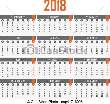 Calendrier Lundi Semaine D 233 Buts Calendrier 2018 Lundi Illustration