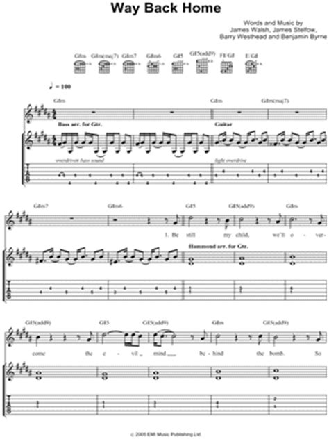 starsailor quot way back home quot guitar tab print