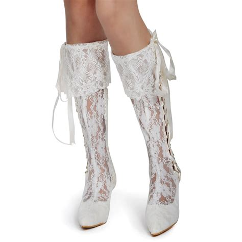 Wedding Shoe Boots by Lace Boots White Ivory Pointed Toe Mid Heel Lace Up