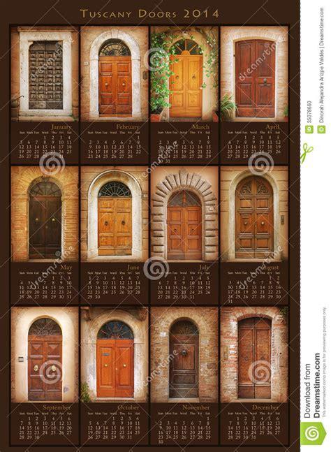 compro porte calendrier 2014 de portes de la toscane illustration stock