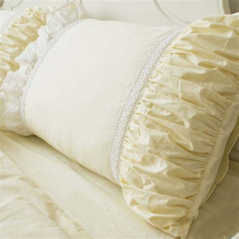 yellow ruffle comforter lace bedding set