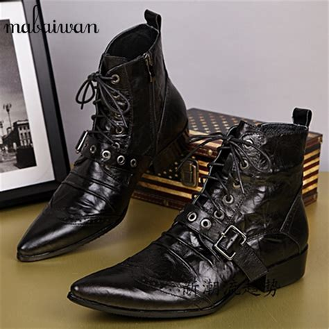 mens lace up biker boots high quality men motorcycle boots mens pointed toe lace up