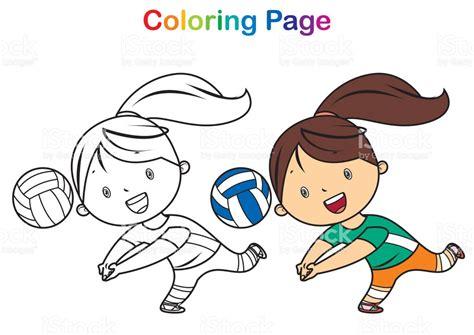 dibujos de niños jugando voleibol boyama kitabı voleybol oynayan kız stok vekt 246 r sanatı