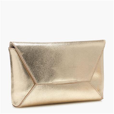 Envelope Clutch Gold lyst j crew leather envelope clutch in crackled gold
