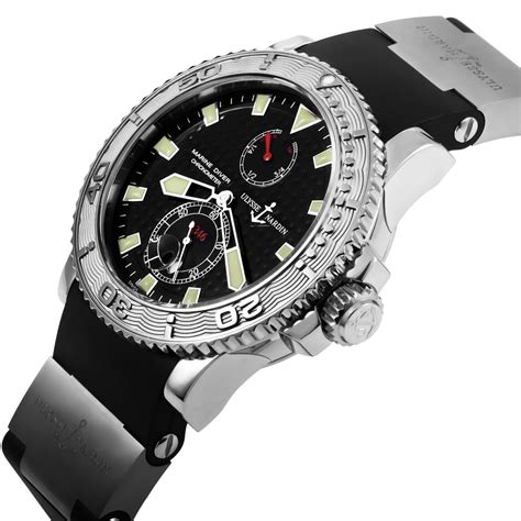 Ulysse Nardin Marine Diver Silver Black Leather For Automatic ulysse nardin maxi marine diver chronometer 263 33 3 92 extraordinary watches touch of modern