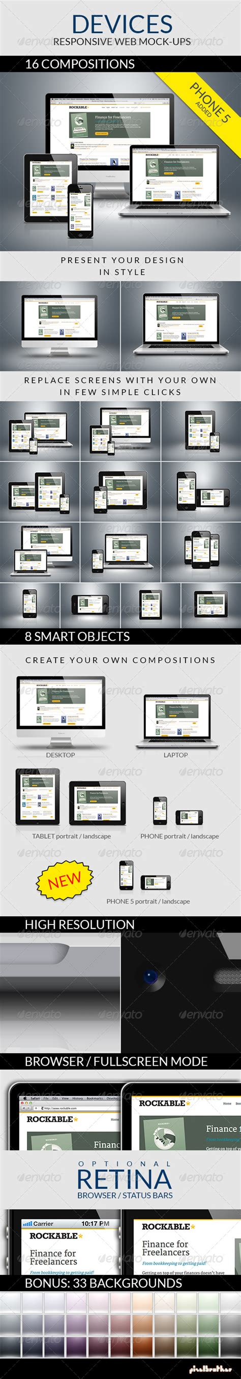 responsive layout in photoshop responsive photoshop mockups for 16 modern devices by