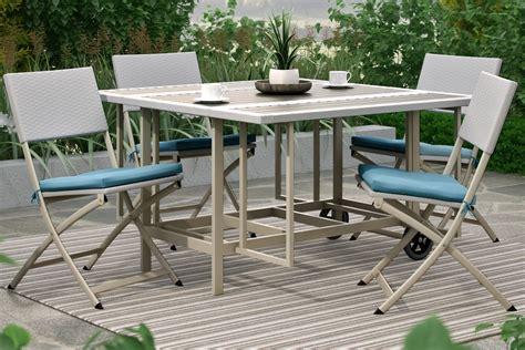 nantucket 5 piece stowable folding patio dining set at