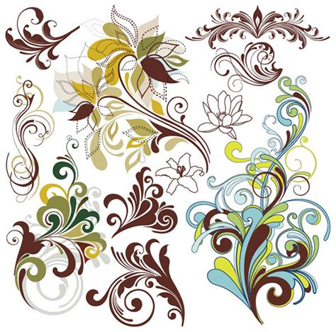 design elements pattern 70 free graphics vintage vector flowers and floral