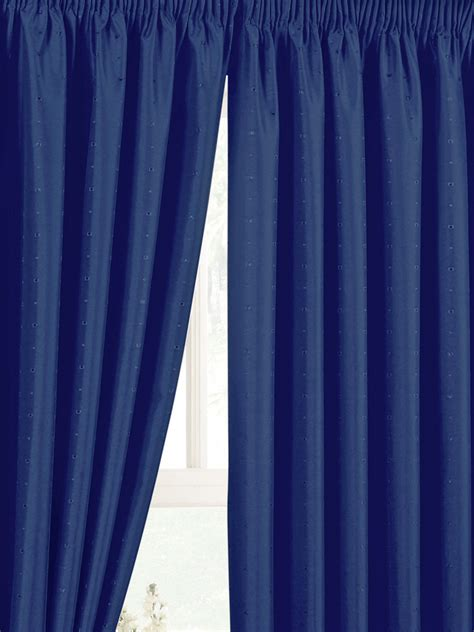 Summer Weight Duvets Luxury Jacquard Pencil Pleat Navy Blue Curtains