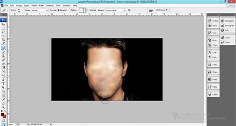 tutorial gambar anime di photoshop menghilangkan bagian wajah dengan healing brush tool