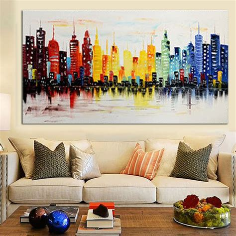 26 abstract painting for living room wall art designs 120x60cm modern city canvas abstract painting print living