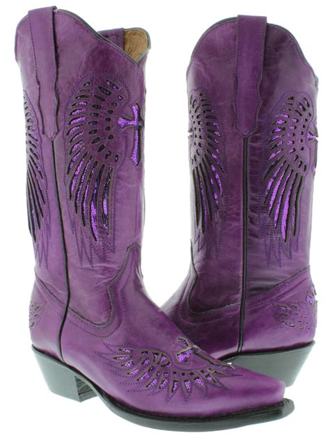 s cowboy boots purple leather sequins western