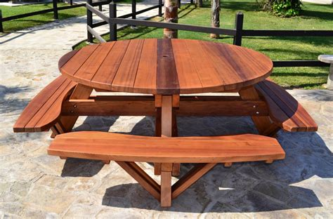 wooden picnic table  attached benches