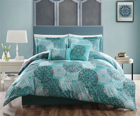 white and teal comforter 5 pc teal blue gray white queen comforter circle medallion