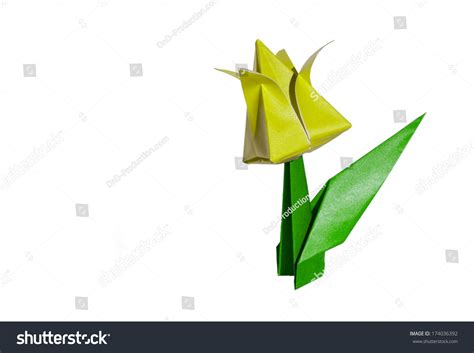 Origami Tulip Leaf - origami yellow flower tulip isolated on stock photo