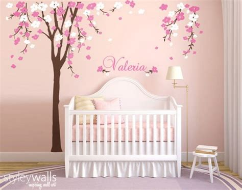 cherry blossom tree wall decal nursery baby room decor with personalized name stickers