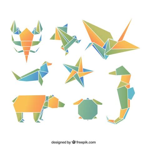 Paper Folding Animals - animales de origami descargar vectores gratis