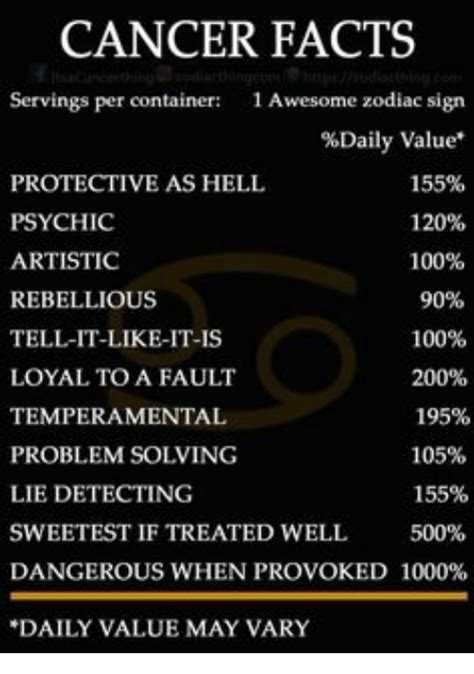 Cancer Zodiac Memes - cancer facts servings per container 1 awesome zodiac sign daily value protective as hell 155