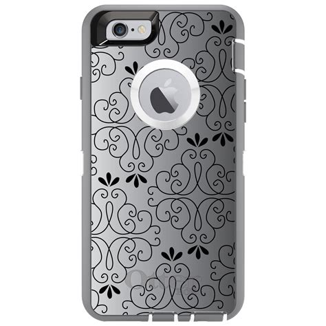 Floral Iphone 6 6s 7 8 X Plus otterbox defender for iphone 6 6s 7 8 plus x black white