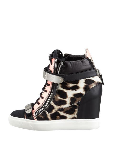 leopard sneaker wedges giuseppe zanotti leopard print calf hair wedge sneaker in