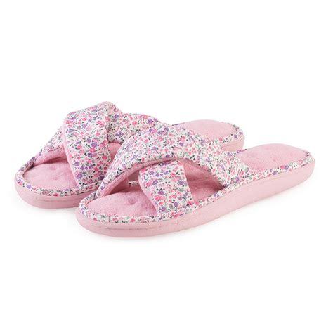 pink isotoner slippers isotoner pink floral cross slipper ebay