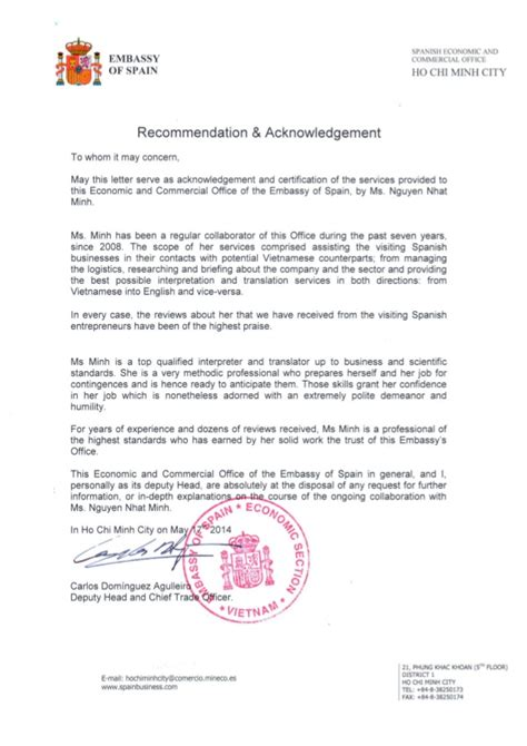 Reference Letter Format For Embassy recommendation letter from embassy of spain