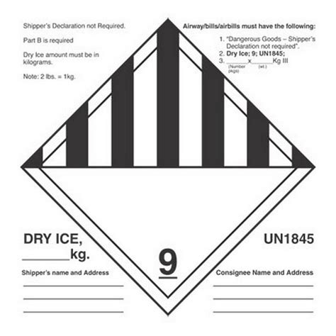 printable dry ice label 6 quot x 6 quot dry ice un1845 labels 500 per roll