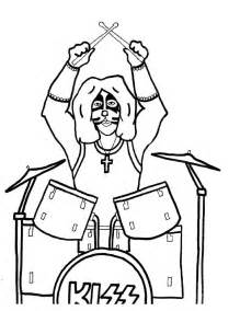 free kiss rock band coloring pages