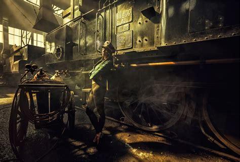 werkstatt wallpaper steunk workshop smokes locomotive retro style