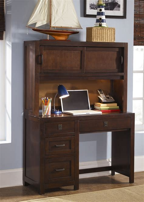 study desk with hutch cooper s creek student desk hutch in rustic brown finish
