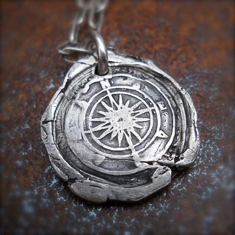 mens silver compass wax seal pendant nautical travelers