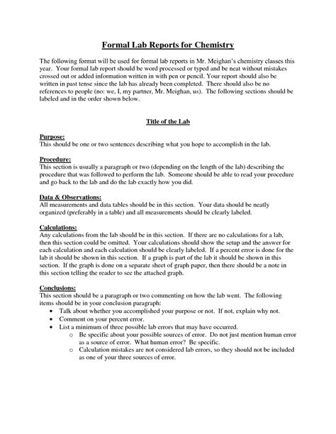 Lab Report Template Chemistry formal lab reports for chemistry 7 formal lab report