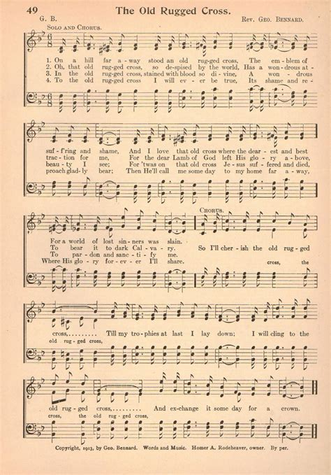 the rugged cross vintage hymn sheet 1920s