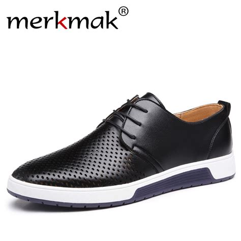 mens black casual sneakers merkmak new 2017 casual shoes leather summer