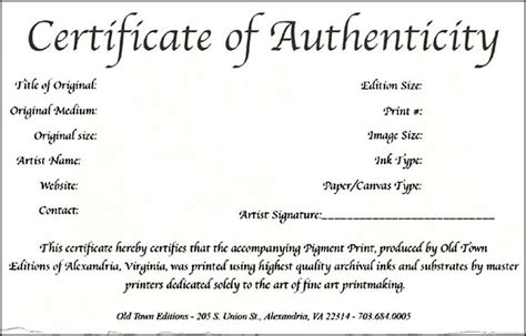 authenticity certificate template certificate of authenticity template word sle templates