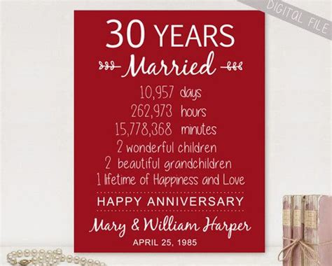 anniversary gifts for 30th wedding anniversary 25 best ideas about 30th anniversary gifts on
