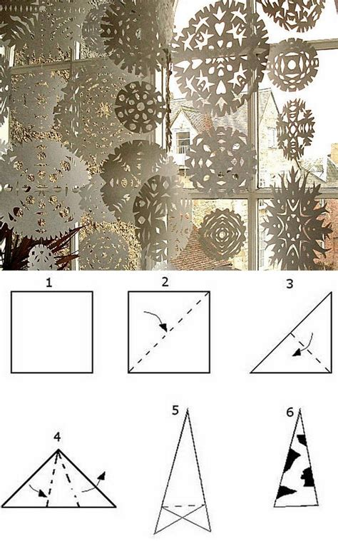 Folding Paper Snowflakes - paper folds paper crafts