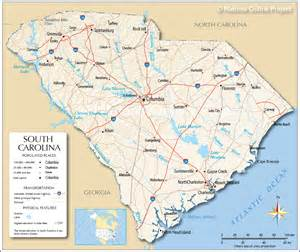 map of carolina major cities reference map of south carolina usa nations project