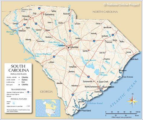 carolina cities map maps map south carolina