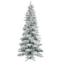 Pre lit slim snow flocked layered utica christmas tree clear