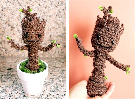 grootorial make your own crochet potted baby groot nerd