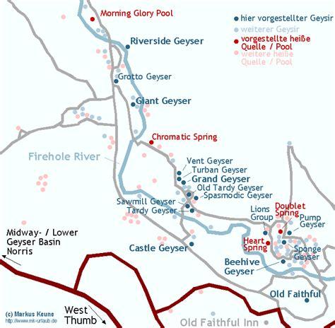 yellowstone geysers map geyser basin yellowstone travelsfinders