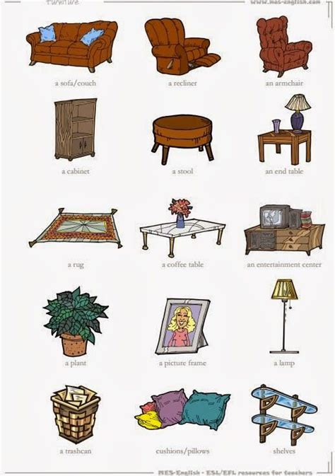 tuttoprof inglese 15 living room objects flashcard tuttoprofinglese living