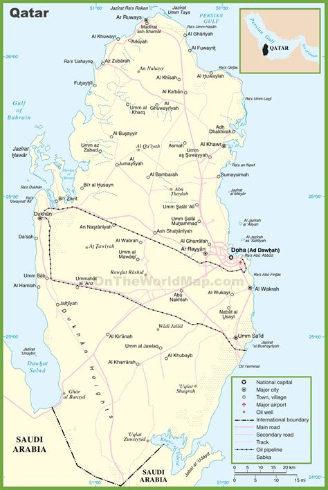 maps with towns large detailed map of qatar with cities and towns