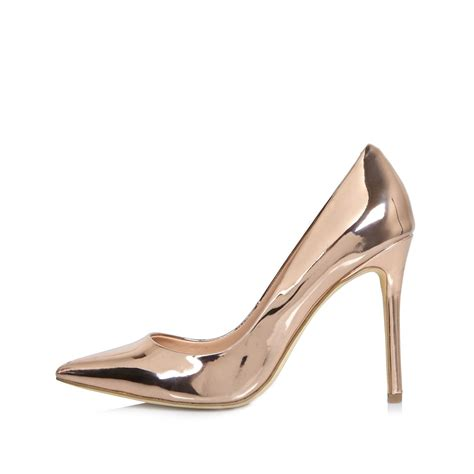 river island shoes river island gold patent court shoes in yellow lyst