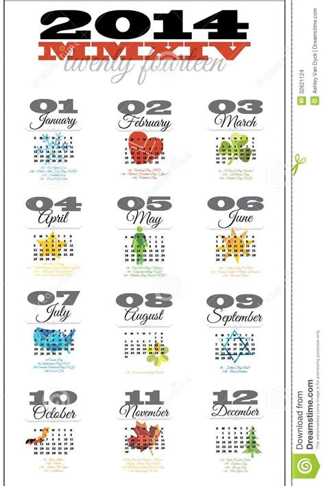 monthly date christmas presents 2014 12 month calendar featuring holidays stock images image 32621124