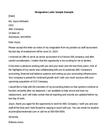 Resignation Letter For Accountant Pdf Resignation Letter Sle For Accounting Staff Cover Letter Templates