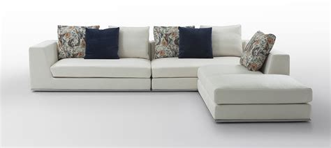 Sectional Sofa Fabric Odessa Modern White Fabric Sectional Sofa